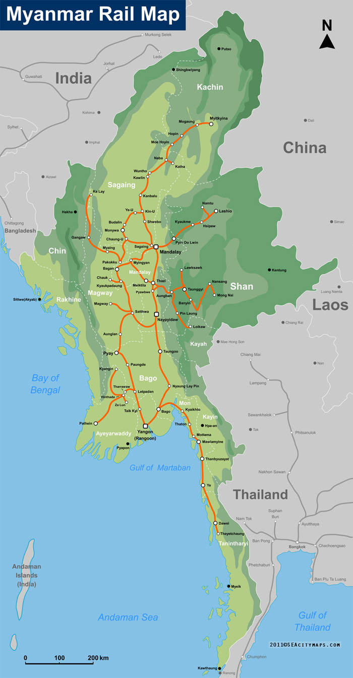 Railroad map of Myanmar