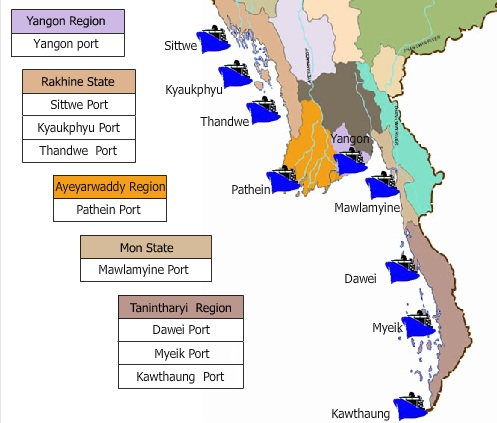 Map of Myanmar's ports
