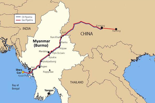 CHINA RECEIVES FIRST GAS FROM MYANMAR PIPELINE